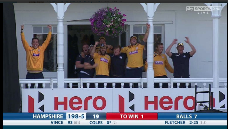 All of us on the balcony as winning runs were scored v Nottinghamshire
